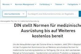Covid-19: DIN-Normen für Medizin-Technik und -Ausrüstung umsonst