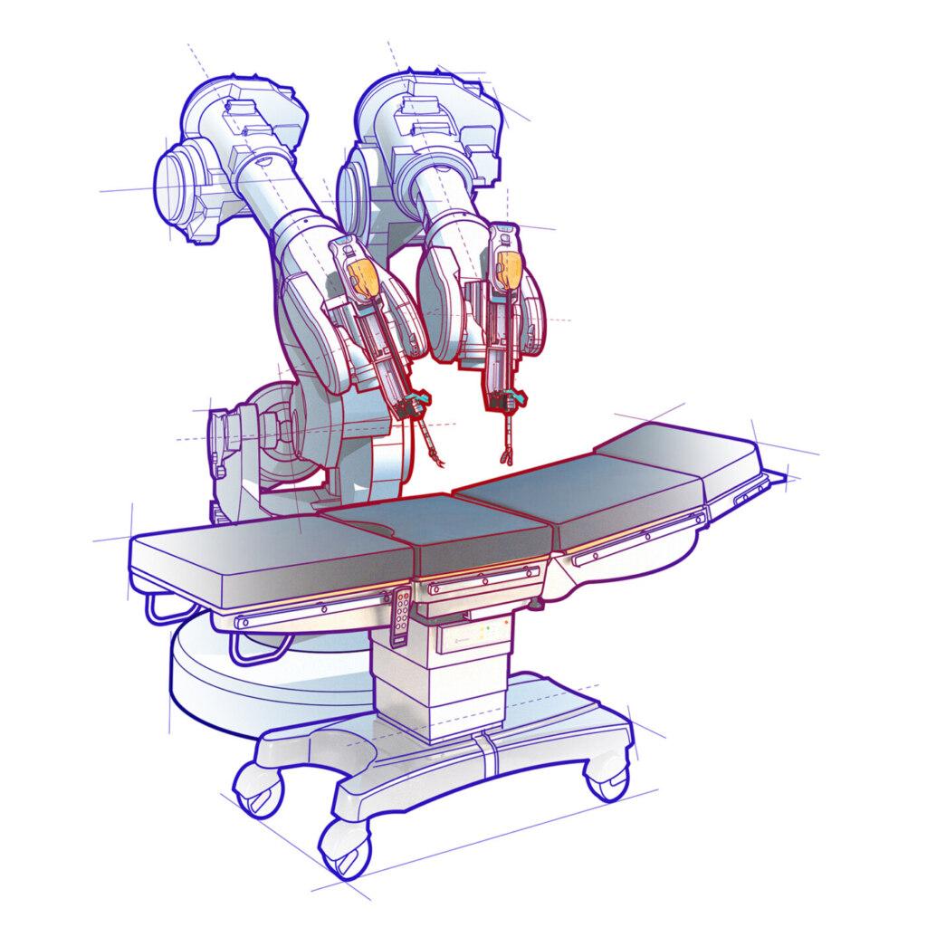 Beispiele für chirurgische Robotik-Technologie und elektrochirurgische Handinstrumente.