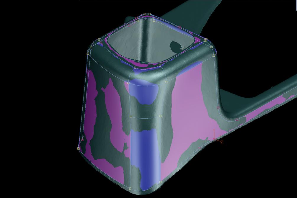 Die Freiformflächen werden mit Tebis Reverser rückgeführt. Sie entsprechen der Netzgeometrie.