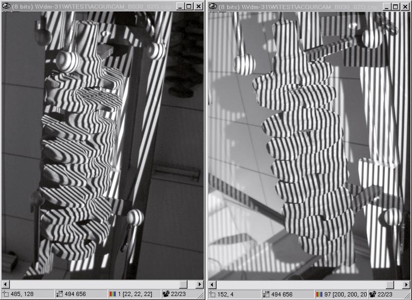 Das projizierte Streifenmuster wird von den Kameras aufgenommen. Um die komplette Kurbelwelle in 3D zu erfassen, wird die Kurbelwelle in 120-Grad-Schritten von drei Seiten erfasst.