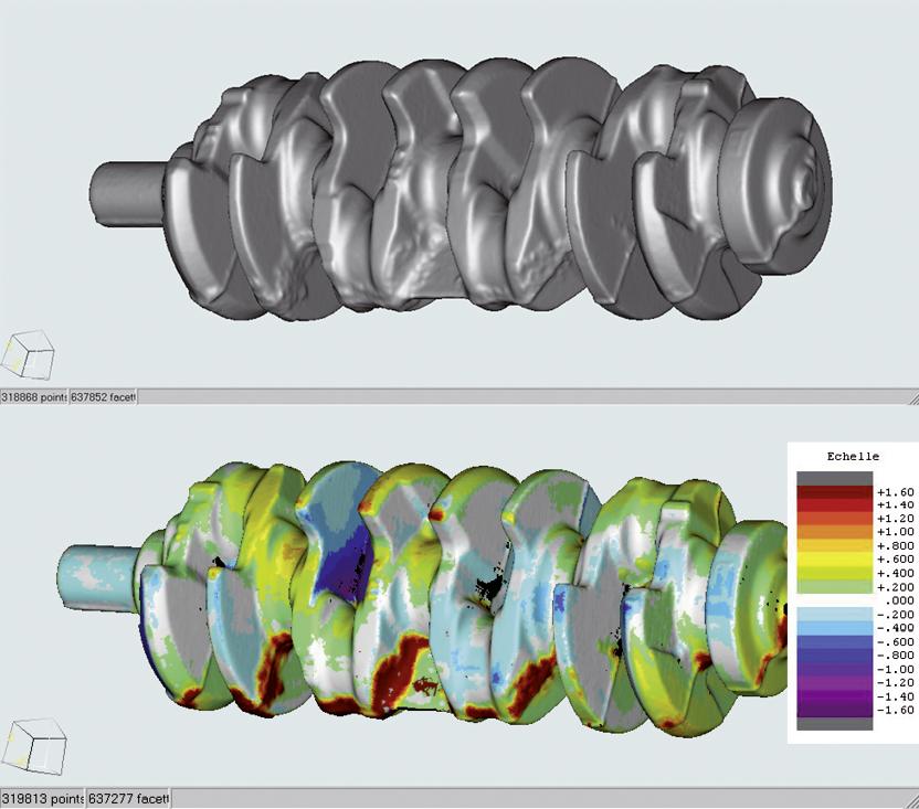 Die von Videometric entwickelte Software vergleicht das hinterlegte CAD/CAM-Modell mit dem 3D-Modell der tatsächlich produzierten Kurbelwelle (oben) und markiert die Stellen mit Formfehlern entsprechend ihres Schweregrades der Abweichung in Millimetern farbig (unten).