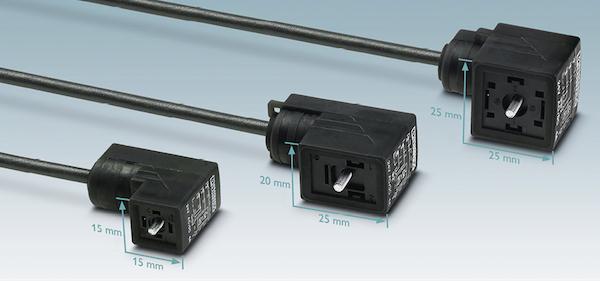Bild 2: Die Norm DIN EN 175301-803 beschreibt drei Baugrößen für Magnetventilstecker: Bauform A (28 x 28 mm), Bauform B (28 x 20 mm) und Bauform C (16 x 16 mm) – die gängigste ist die Bauform A.