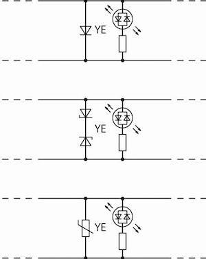 Bild 3: Breite Auswahl an Schutzbeschaltungen. Freilaufdioden harmonisieren gut mit Relais, für AC-Anwendungen eignen sich Z-Dioden oder die leistungsfähigeren Varistoren.