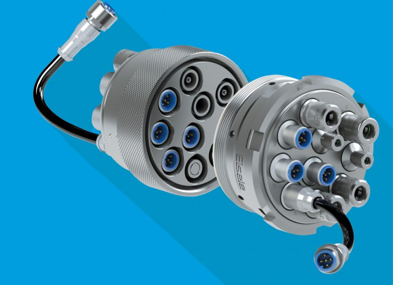 Mit dem Baukastensystem lassen sich Anschlüsse für Flüssigkeiten, Druckluft, Gase und nun auch Elektrik und Elektronik in einer Mehrfachkupplung unterbringen.