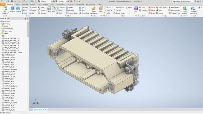Harting Han 25D-STI-C: Multi CAD Komponente - Mechanische Konstruktion - Autodesk Inventor